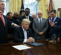 Trump personally receiving Americans' prayers