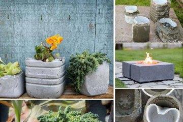 elle cr er un pot de plantes avec une vieille serviette et du ciment le r sultat est vraiment. Black Bedroom Furniture Sets. Home Design Ideas