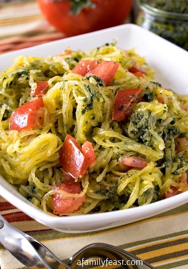 Whole30 Spaghetti Squash With Pesto A Family Feast