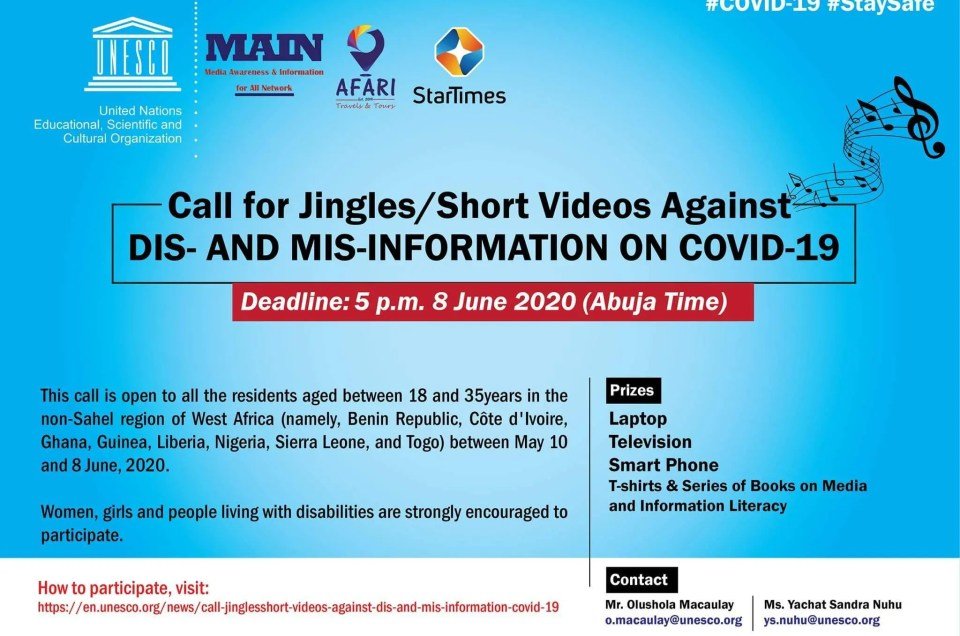 Extension of the Call for Jingles/Short Video against Dis and Mis – information on COVID-19.