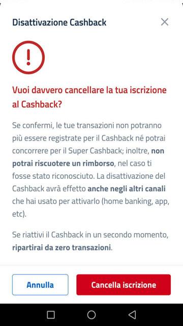 cancellazione cashback