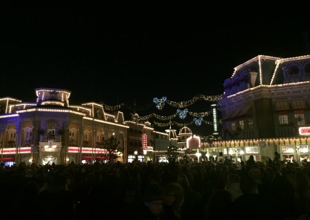 Disney at night. Actually it was about 6 pm, right after the parade. Can you see how many people are there?