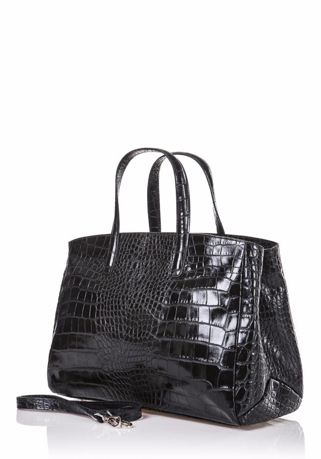 Sac Cuir Vernis Croco Femme Style Malette LUCY