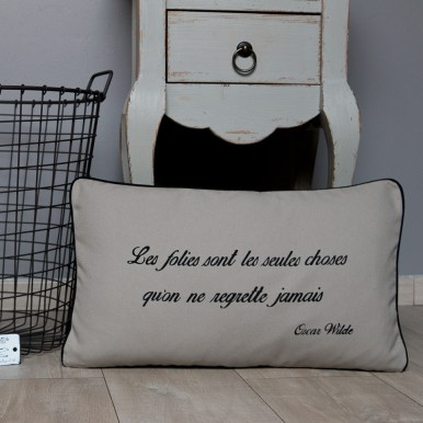 Coussin citation Oscar Wilde