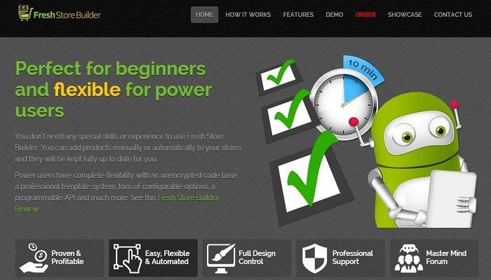 Fresh Store Builder homepage