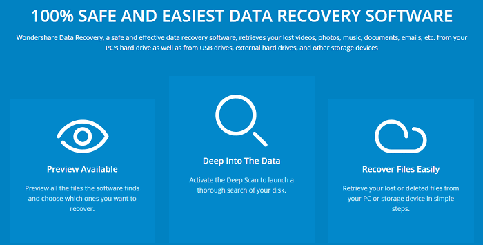 Wondershare Data Recovery Software features