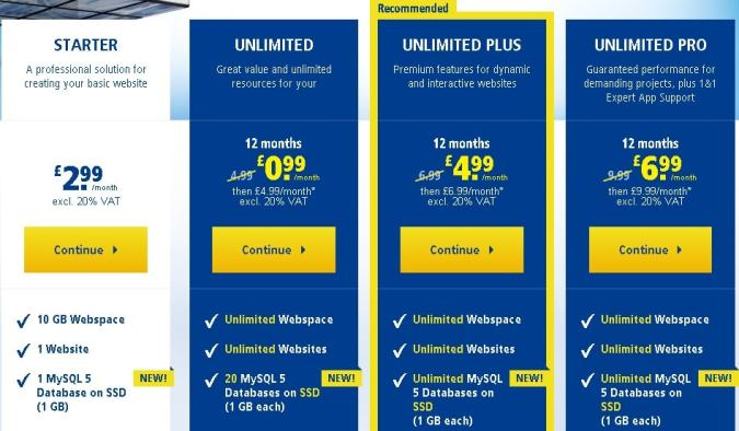 1&1 pricing plans