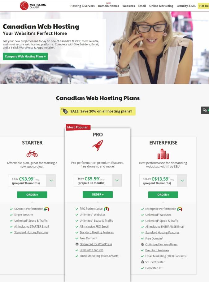 web hosting canada pricing