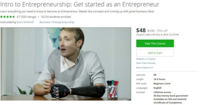 Udemy courses - Intro to Entrepreneurship Get started as an Entrepreneur