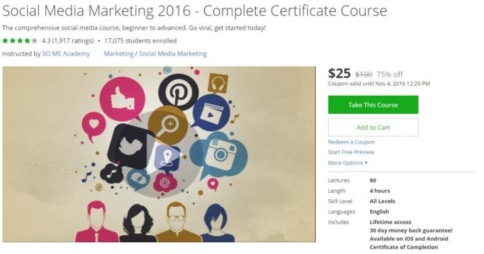 Social Media Marketing 2016 Complete Certificate Course