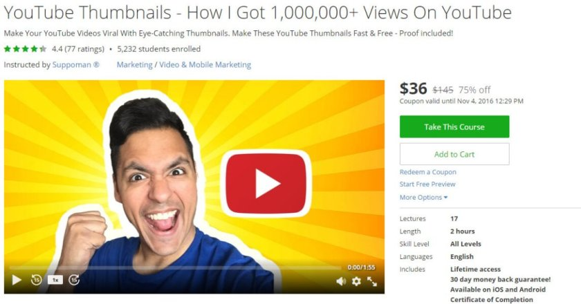 Udemy courses - YouTube Thumbnails How I Got 1000000 Views On YouTube
