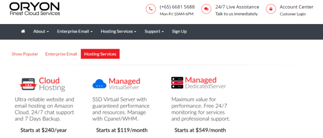 oryon hosting- Best Web Hosting Service Providers In Singapore