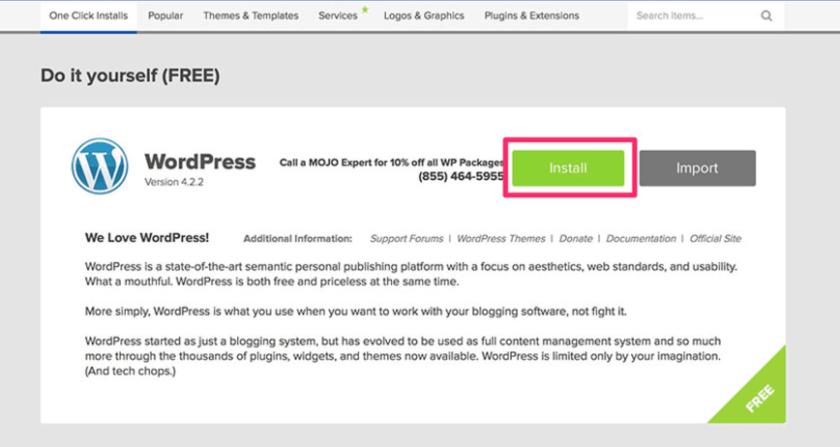 wordpress install process