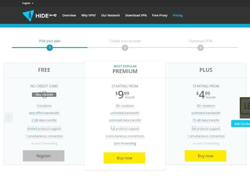 hide-me plans - Top windows VPN provider