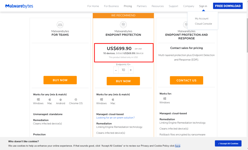 how much malwarebytes cost