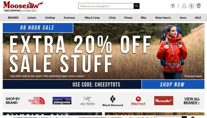 Moosejaw Coupon Codes for September 2018– Extra 20% Off