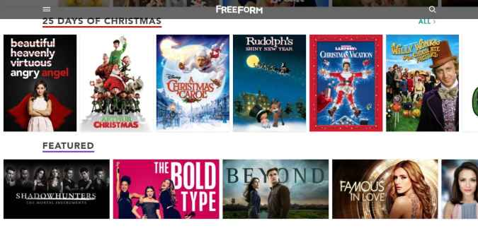 in america like netflix hbo go etc for us since 2001 freeform is providing various family and modern shows movies and series for its subscribers - Hbo Go Christmas Movies