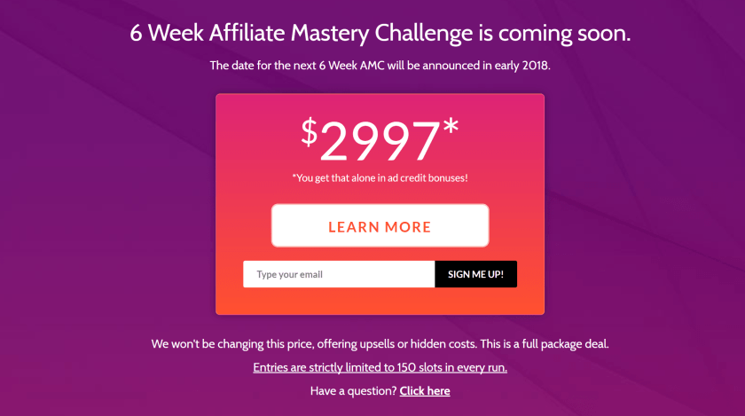 6 Week Affiliate Mastery Challenge Training Review pricing testimonials