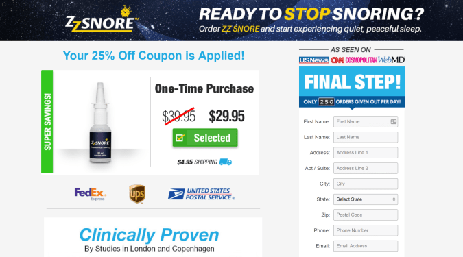 zzsnore discount coupon