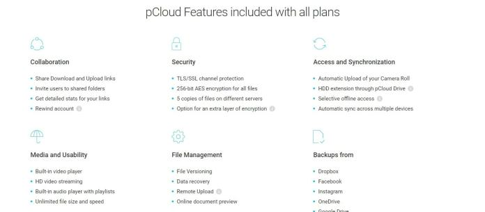 Plans and Features - pCloud