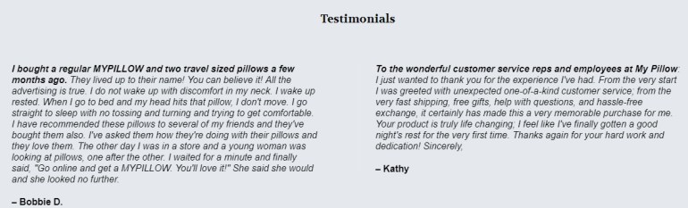 Client Testimonials - Mypillow customer service