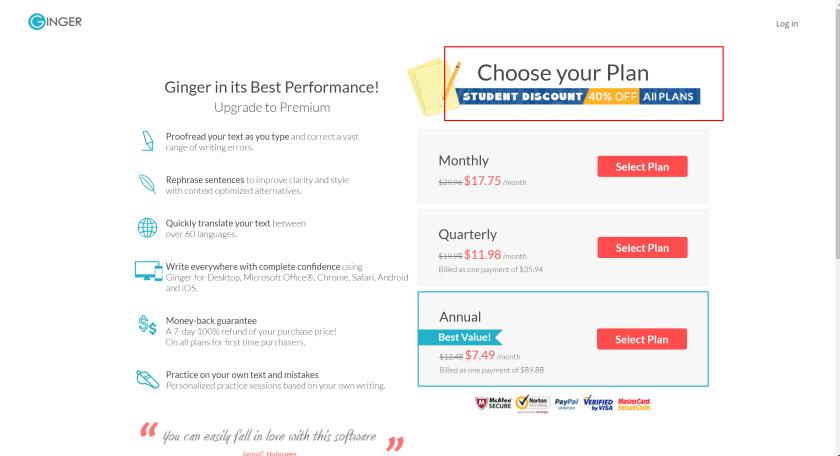 Ginger Premium Plan pricess- Ginger promo codes