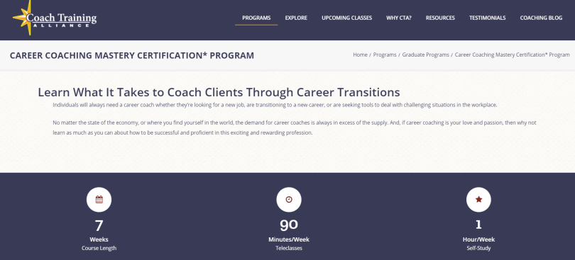 Coach Training Alliance Review- Career Coaching Mastery Certification Program