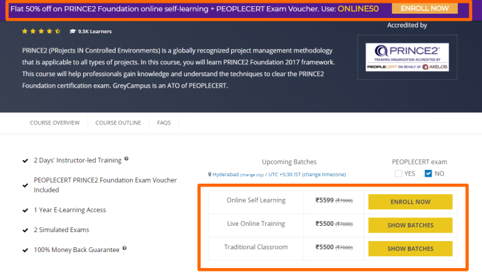 GreyCampus Review With Discount Coupon Codes- PRINCE2 Foundation Training