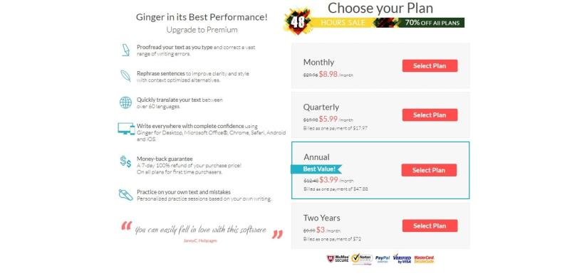 Ginger Software Coupon Codes- Pricing Plans