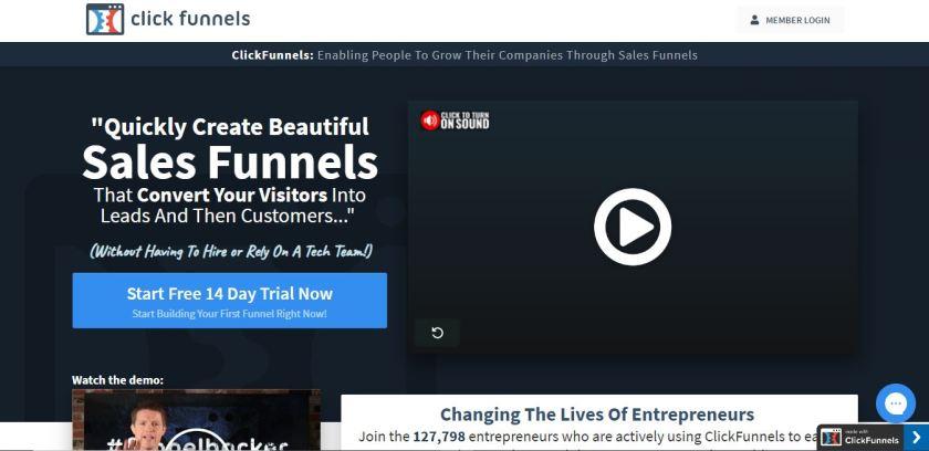 Market Hero vs ClickFunnels-ClickFunnels Homepage