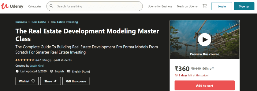 Real Estate Development Modeling Master Class