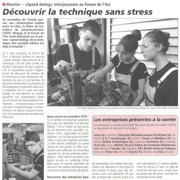 Press Release La Semaine-Speed dating