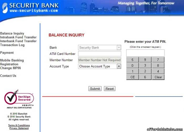 Security Bank Atm Balance Inquiry