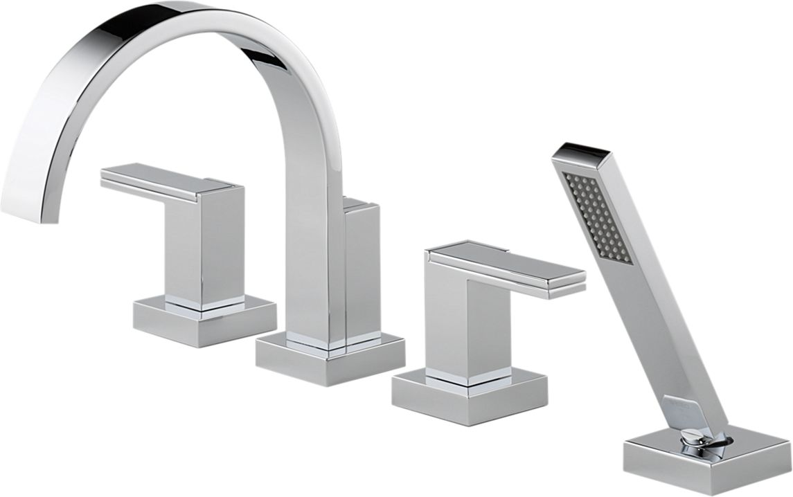 Delta T67480 Pc Siderna Chrome 4 Hole Roman Tub Faucet With