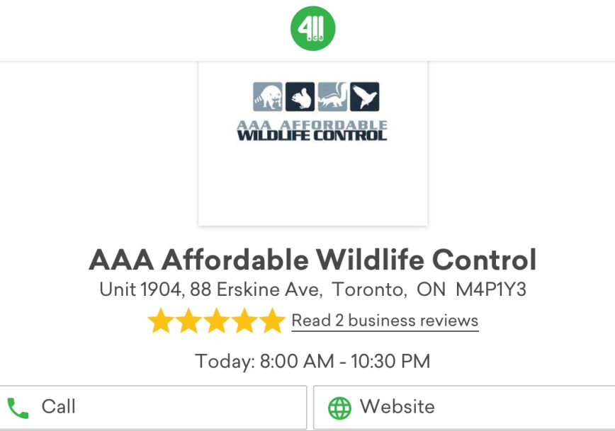 411.ca Reviews - AAA Affordable Wildlife Control Reviews Toronto