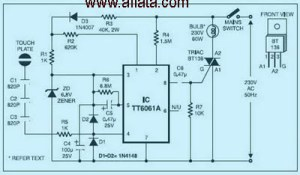 Dimmer Touch Switch | Electronic Circuit Diagram and Layout