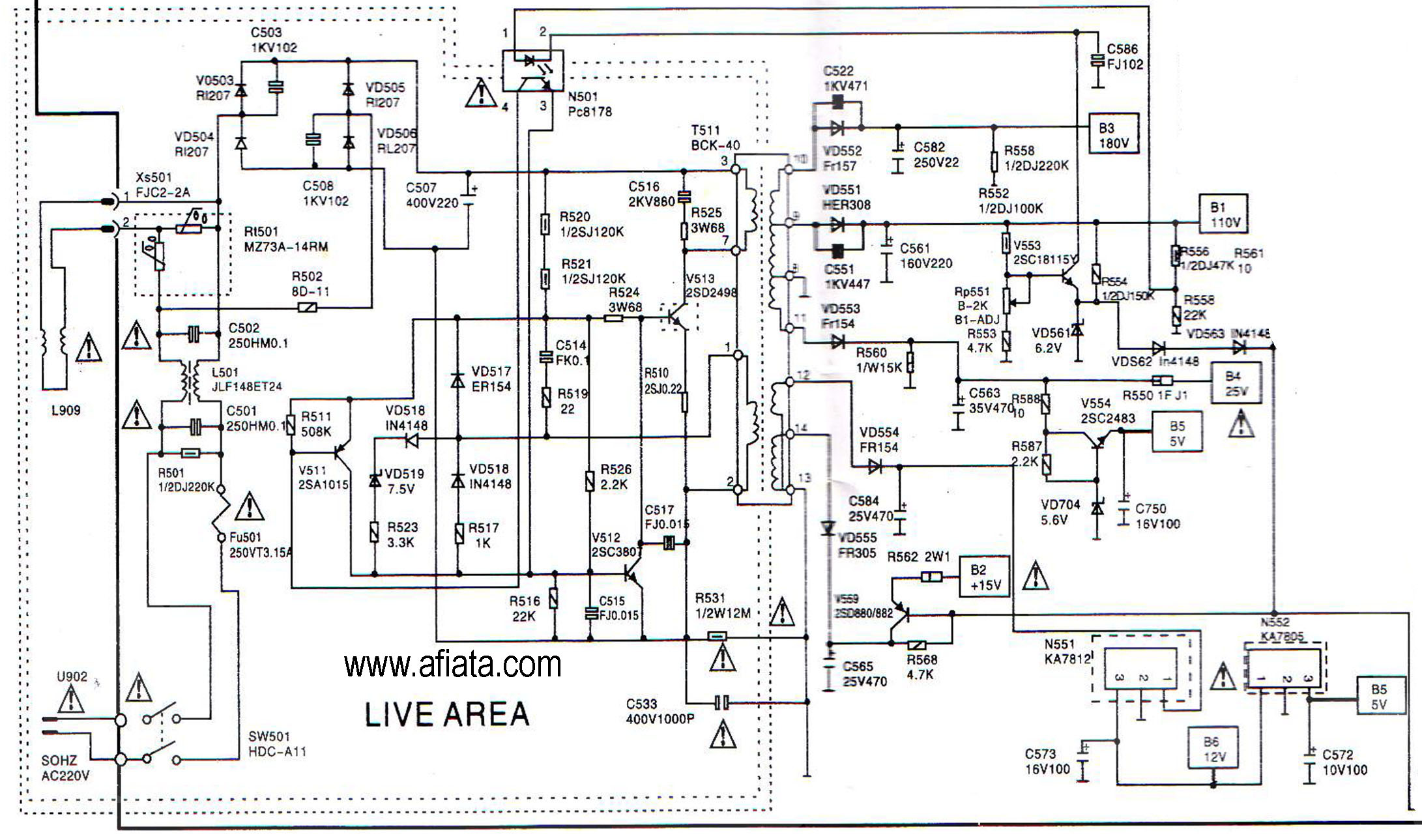 Electronic Circuit Diagram Tv Power Supply Ac Matic Using