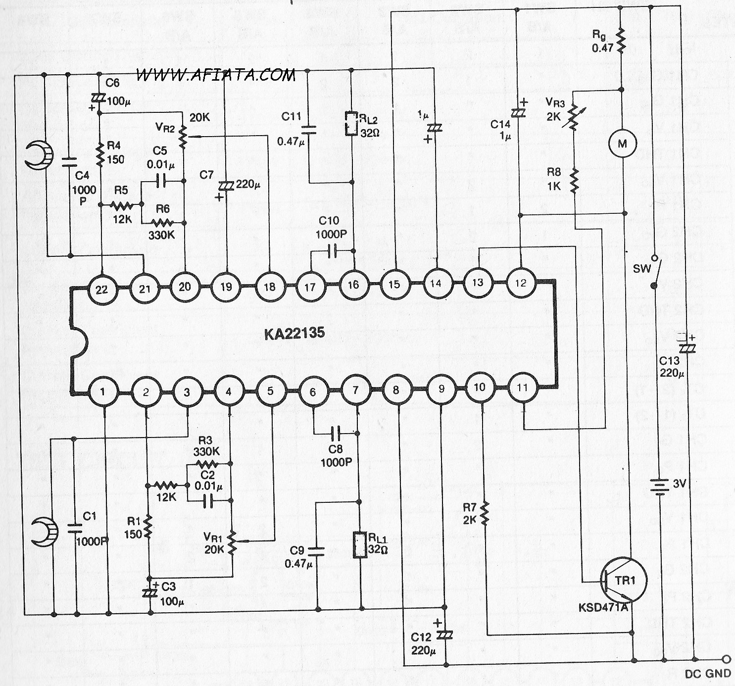 Dual Audio Pre Power Amplifier And Dc Motor Circuit