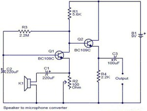Mini Microphone circuit using BC109C | Electronic Circuit Diagram and Layout
