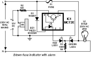Blown Fuse Indicator   Electronic Circuit Diagram and Layout