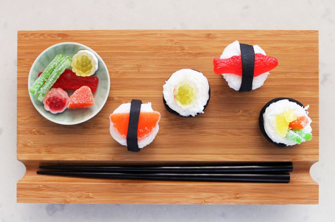 sushi cupcakes served