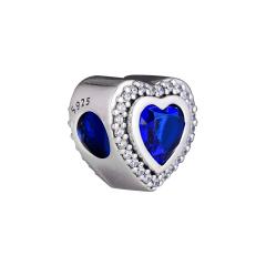 Sparkling Blue Heart Charm   Fits Pandora Bracelets
