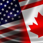 border_crossing Canada USA flags