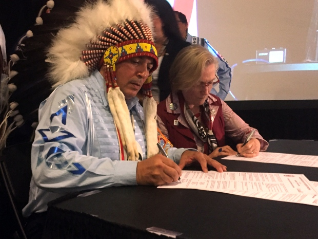 AFN Chief Perry Bellegarde. INAC Minister Carolyn Bennett