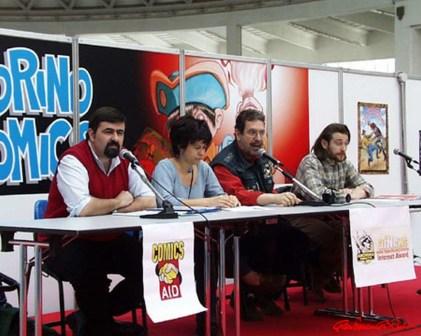Comics Aid - Marco Della Croce, Enrica Salvatori, Gianfranco Goria e Il rappresentante di Emergency