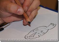 Moise disegna Goria come fosse Tintin