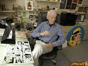 PHIL VELASQUEZ / MCCLATCHY NEWSPAPERS Artist/author Dick Locher, who has drawn the Dick Tracy comic strip since 1983, sits in his Illinois home studio. He has won a Pulitzer Prize for editorial cartoons for the Chicago Tribune and is retiring in March - http://seattletimes.com/html/books/2014320453_tracy28.html