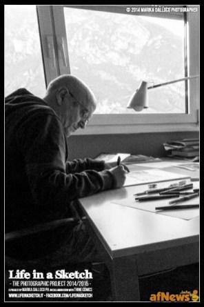 Giancarlo Alessandrini nel suo studio per il progetto Life in a Sketch