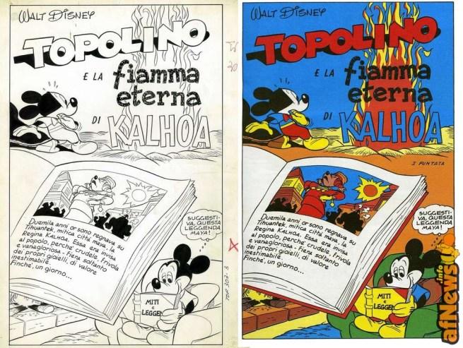 Topolino e la fiamma eterna di kalhoa - pagina pubblicata e originale a confronto - afnews