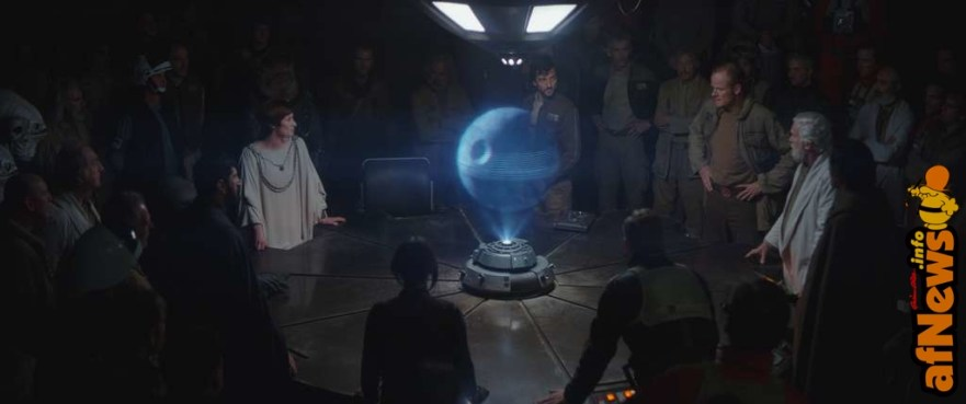 Rogue One: A Star Wars Story..Rebel Base L to R: Mon Mothma, Cassian Andor, General Draven and Dodanna)..Photo credit: Lucasfilm/ILM..©2016 Lucasfilm Ltd. All Rights Reserved.
